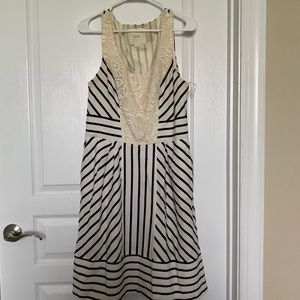 Anthropologie Striped and Lace Dress w/ Pockets!